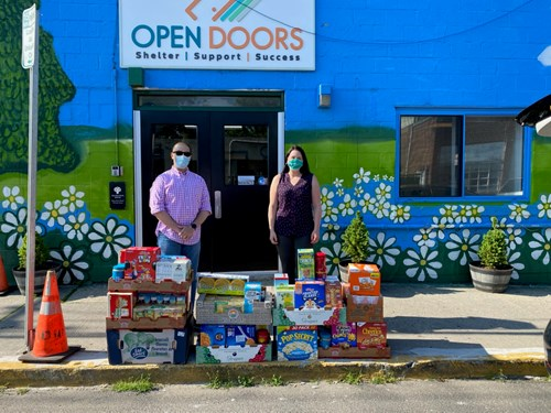 grocery donation to The Open Door Shelter